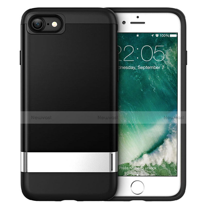 Silicone Candy Rubber TPU Soft Case with Stand for Apple iPhone SE (2020) Black