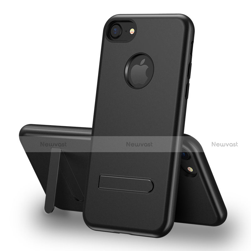 Silicone Candy Rubber TPU Soft Case with Stand S01 for Apple iPhone SE (2020) Black
