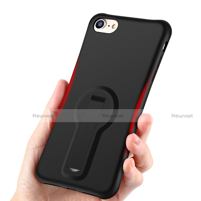 Silicone Candy Rubber TPU Soft Case with Stand S02 for Apple iPhone SE (2020) Black