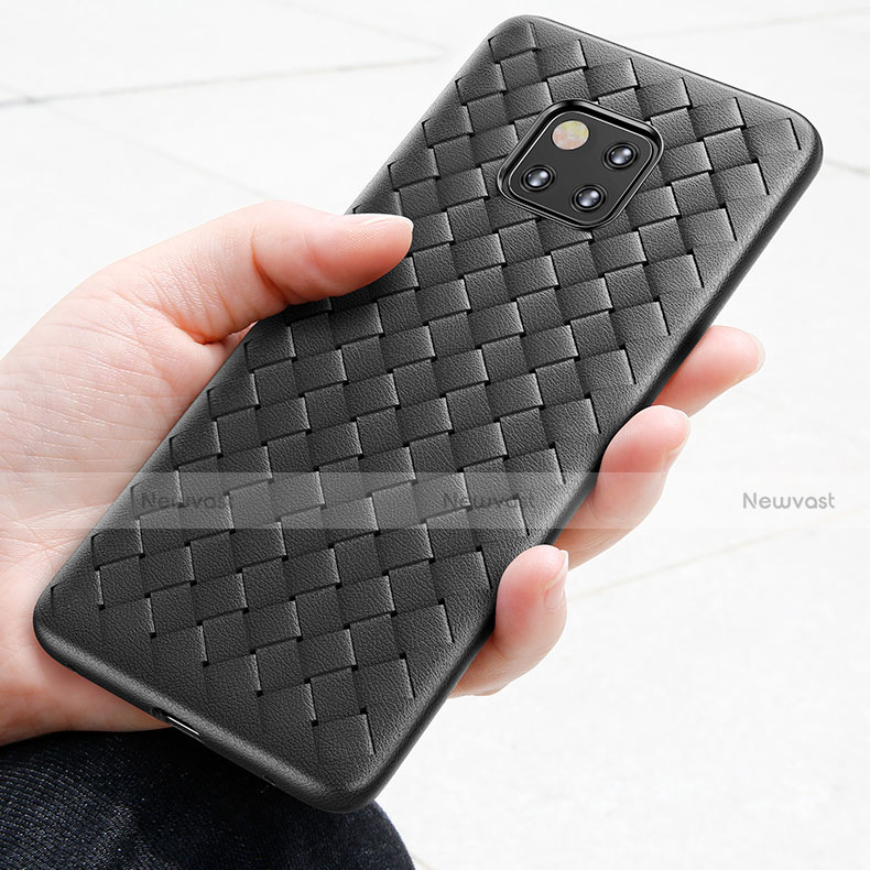 Silicone Candy Rubber TPU Twill Soft Case B02 for Huawei Mate 20 Pro Black