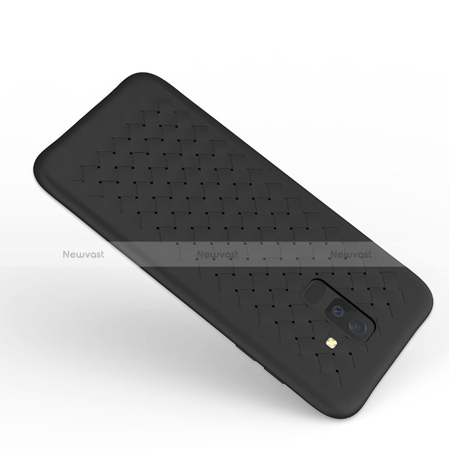 Silicone Candy Rubber TPU Twill Soft Case B02 for Samsung Galaxy A9 Star Lite Black