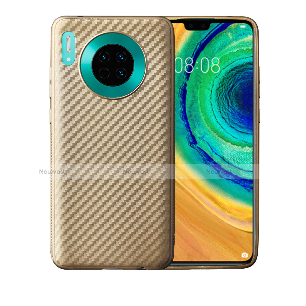 Silicone Candy Rubber TPU Twill Soft Case Cover for Huawei Mate 30 Pro 5G Gold