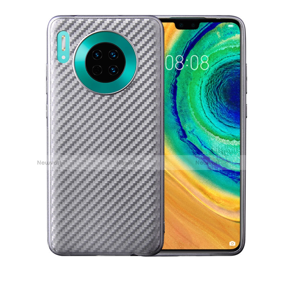 Silicone Candy Rubber TPU Twill Soft Case Cover for Huawei Mate 30 Pro 5G Silver