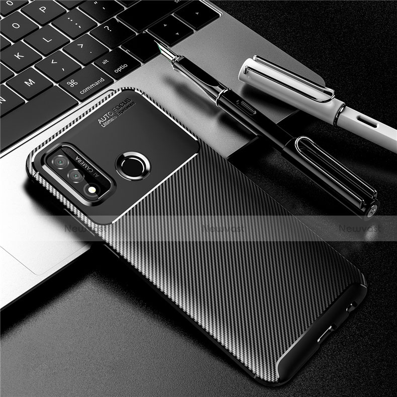 Silicone Candy Rubber TPU Twill Soft Case Cover for Huawei P Smart (2020) Black