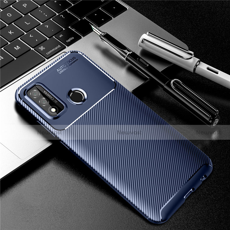 Silicone Candy Rubber TPU Twill Soft Case Cover for Huawei P Smart (2020) Blue