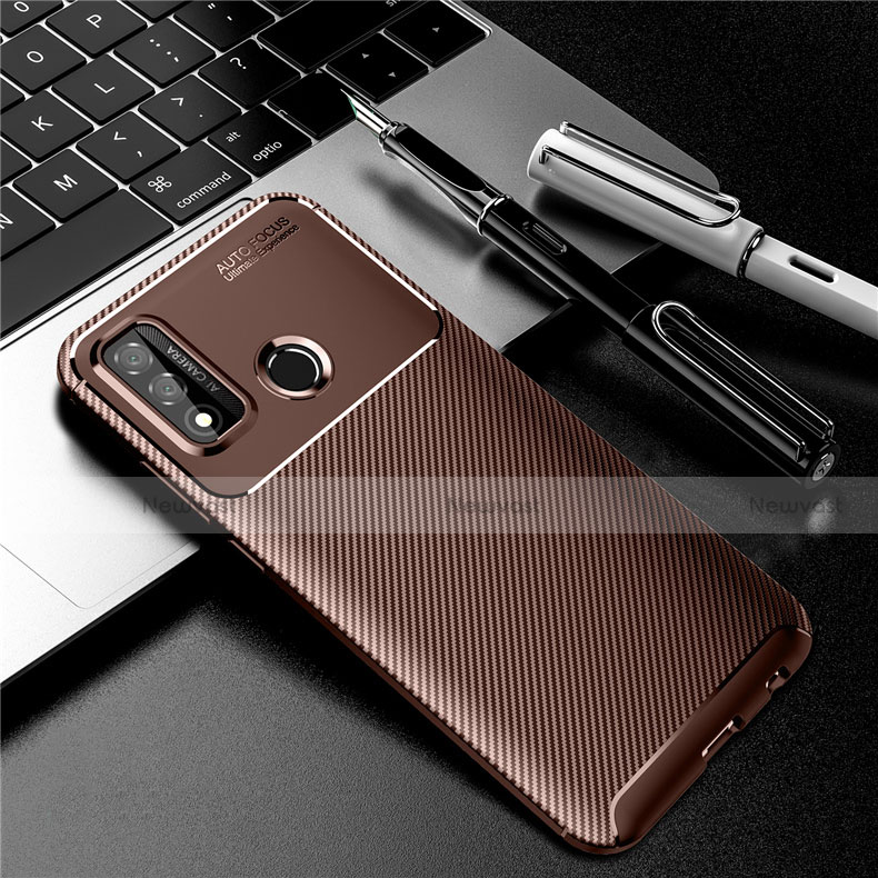 Silicone Candy Rubber TPU Twill Soft Case Cover for Huawei P Smart (2020) Brown
