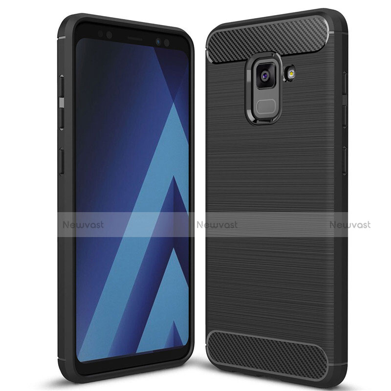 Silicone Candy Rubber TPU Twill Soft Case Cover for Samsung Galaxy A5 (2018) A530F Black