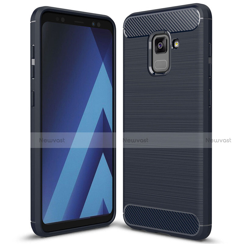 Silicone Candy Rubber TPU Twill Soft Case Cover for Samsung Galaxy A5 (2018) A530F Blue