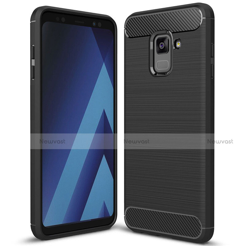 Silicone Candy Rubber TPU Twill Soft Case Cover for Samsung Galaxy A8+ A8 Plus (2018) Duos A730F Black