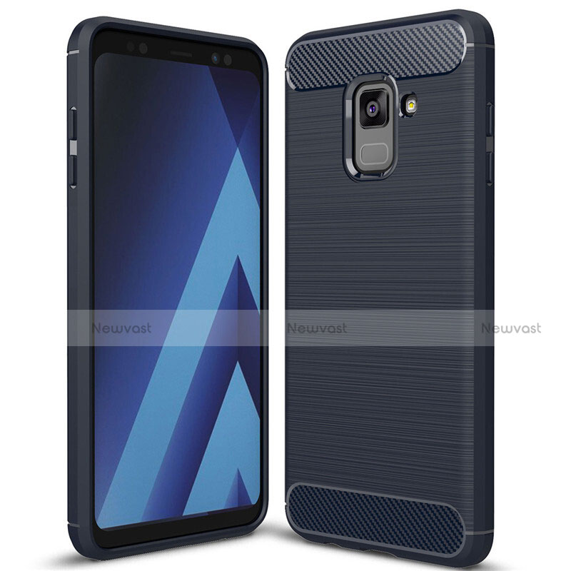 Silicone Candy Rubber TPU Twill Soft Case Cover for Samsung Galaxy A8+ A8 Plus (2018) Duos A730F Blue