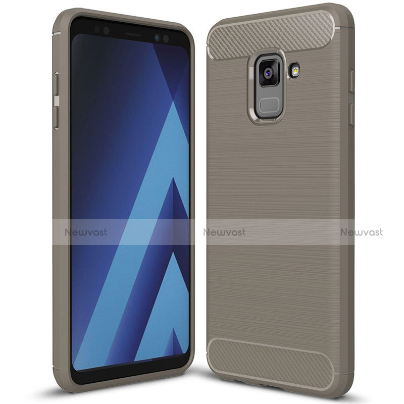 Silicone Candy Rubber TPU Twill Soft Case Cover for Samsung Galaxy A8+ A8 Plus (2018) Duos A730F Gray