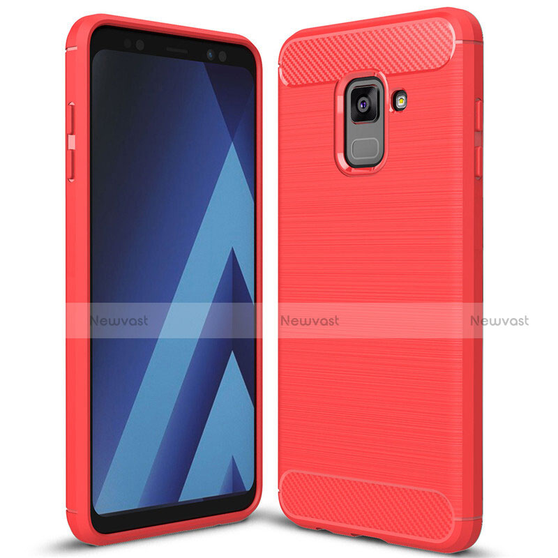 Silicone Candy Rubber TPU Twill Soft Case Cover for Samsung Galaxy A8+ A8 Plus (2018) Duos A730F Red
