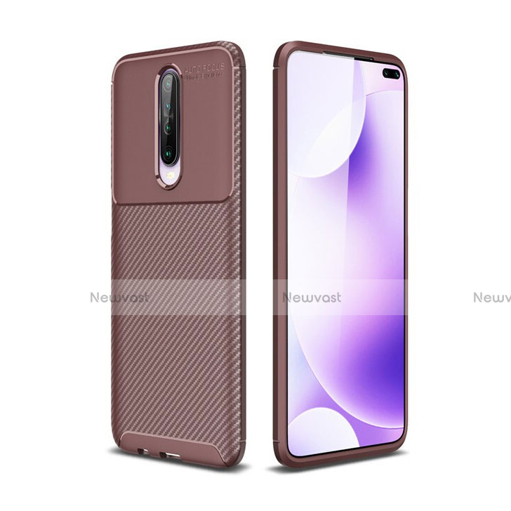 Silicone Candy Rubber TPU Twill Soft Case Cover for Xiaomi Redmi K30 5G Brown