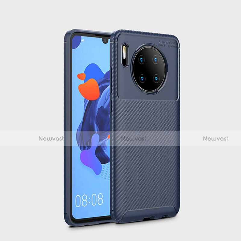 Silicone Candy Rubber TPU Twill Soft Case Cover S01 for Huawei Mate 30 Pro 5G Blue