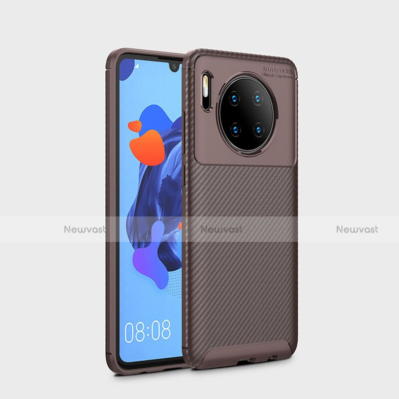 Silicone Candy Rubber TPU Twill Soft Case Cover S01 for Huawei Mate 30 Pro 5G Brown