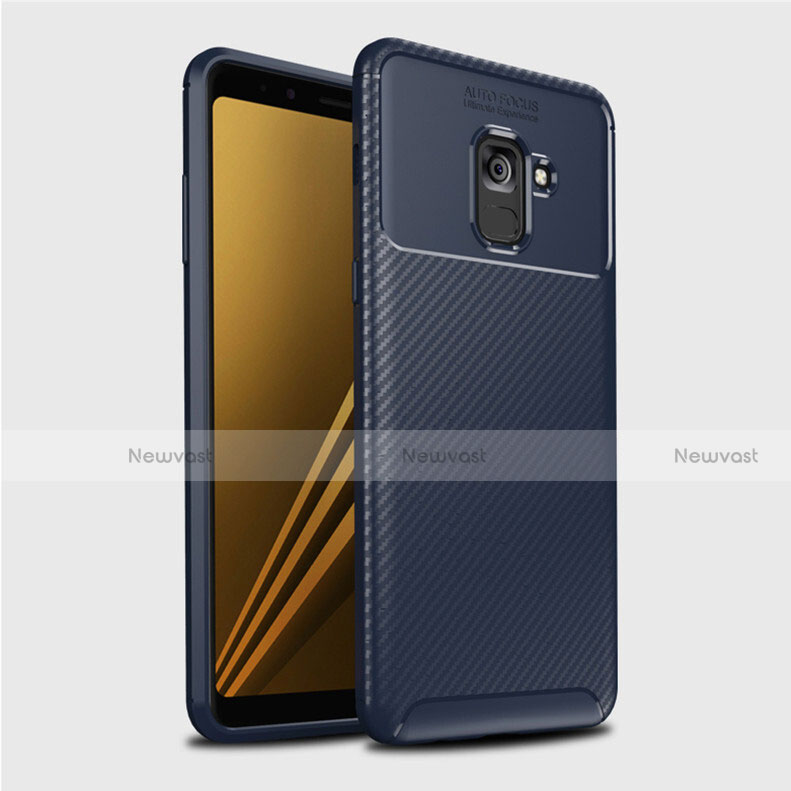Silicone Candy Rubber TPU Twill Soft Case Cover S01 for Samsung Galaxy A8+ A8 Plus (2018) A730F Blue