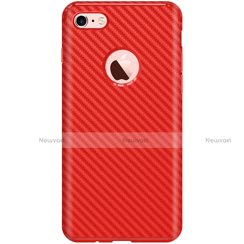 Silicone Candy Rubber TPU Twill Soft Case for Apple iPhone SE (2020) Red