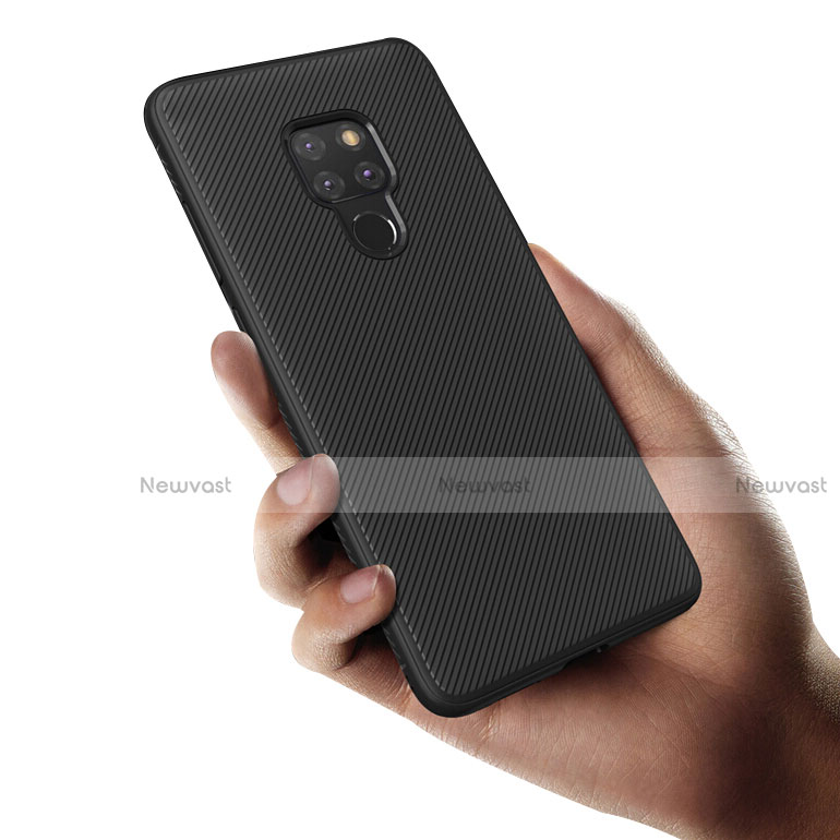 Silicone Candy Rubber TPU Twill Soft Case for Huawei Mate 20 Black