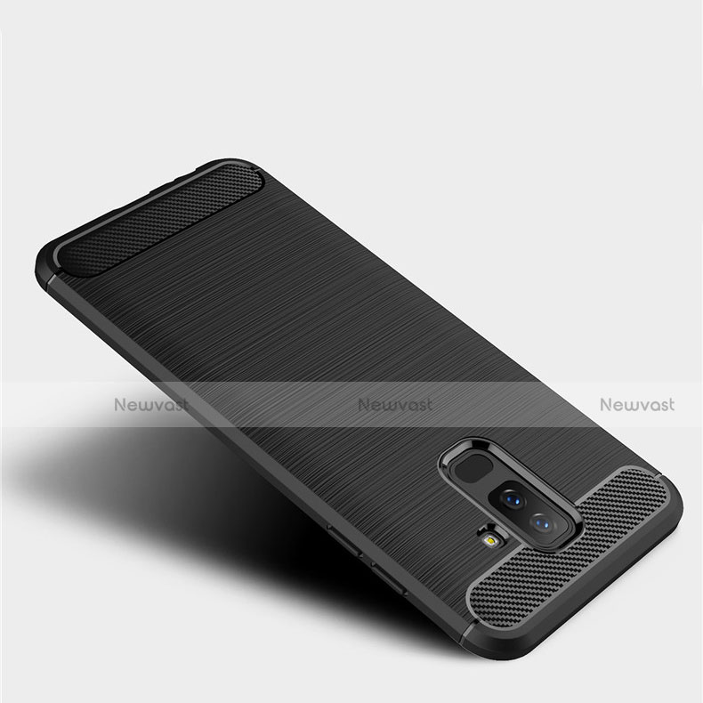 Silicone Candy Rubber TPU Twill Soft Case for Samsung Galaxy A6 Plus Black