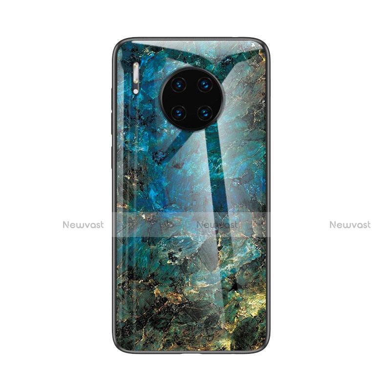 Silicone Frame Fashionable Pattern Mirror Case Cover for Huawei Mate 30 Pro 5G Blue