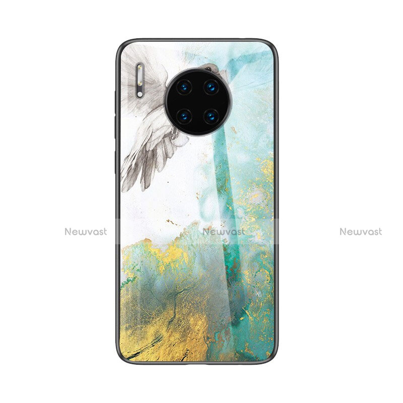 Silicone Frame Fashionable Pattern Mirror Case Cover for Huawei Mate 30 Pro 5G Green