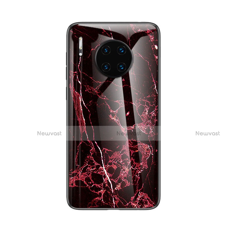 Silicone Frame Fashionable Pattern Mirror Case Cover for Huawei Mate 30 Pro 5G Red