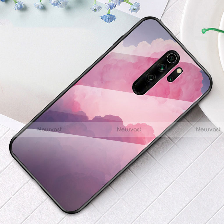 Silicone Frame Fashionable Pattern Mirror Case Cover for Xiaomi Redmi Note 8 Pro Purple
