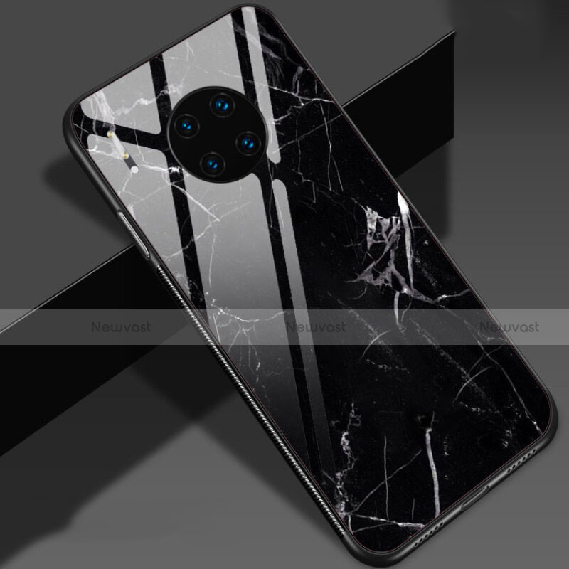 Silicone Frame Fashionable Pattern Mirror Case Cover S01 for Huawei Mate 30 Pro 5G Black