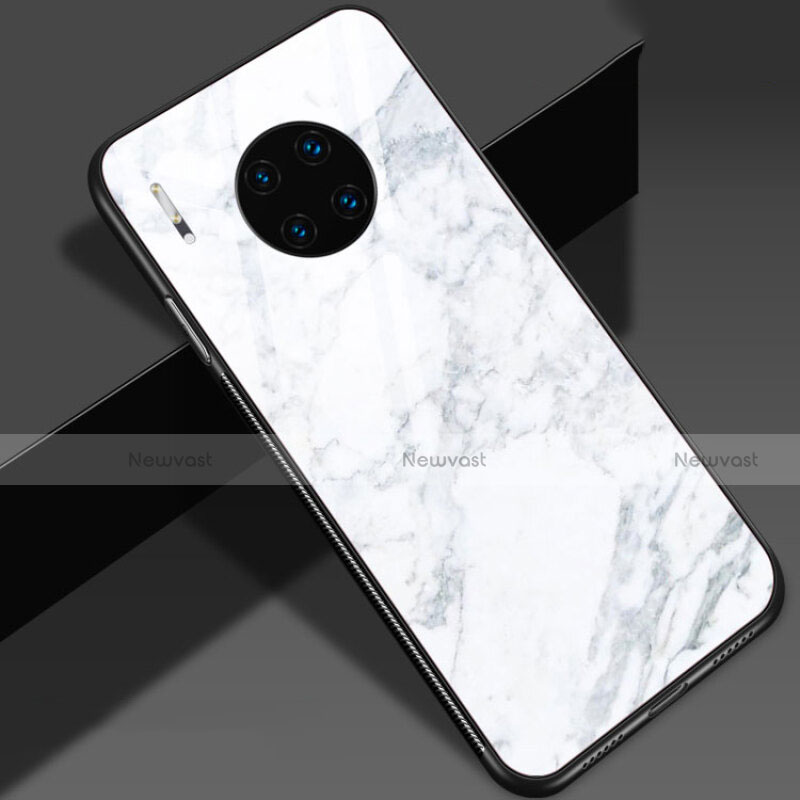 Silicone Frame Fashionable Pattern Mirror Case Cover S01 for Huawei Mate 30 Pro 5G White