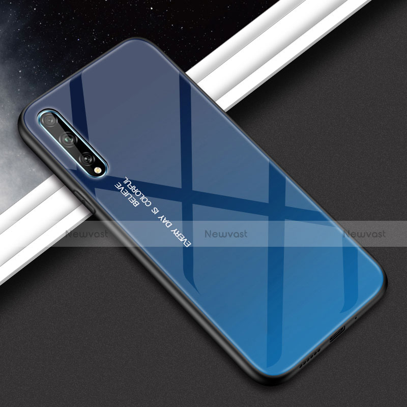 Silicone Frame Mirror Case Cover for Huawei Enjoy 10S Blue