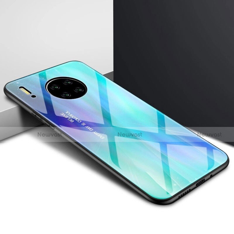 Silicone Frame Mirror Case Cover for Huawei Mate 30 Pro 5G Blue