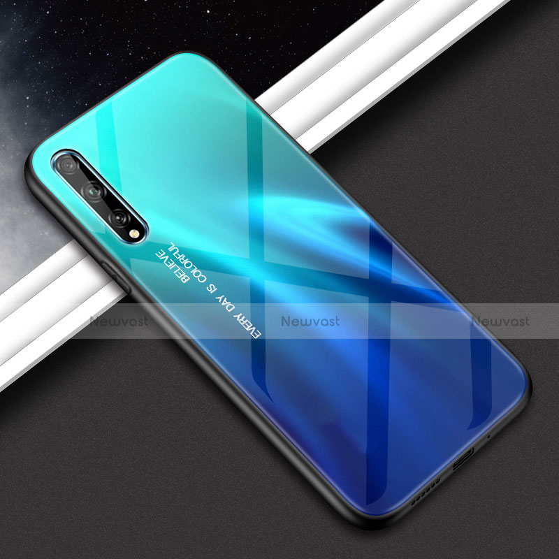 Silicone Frame Mirror Case Cover for Huawei Y8p Cyan