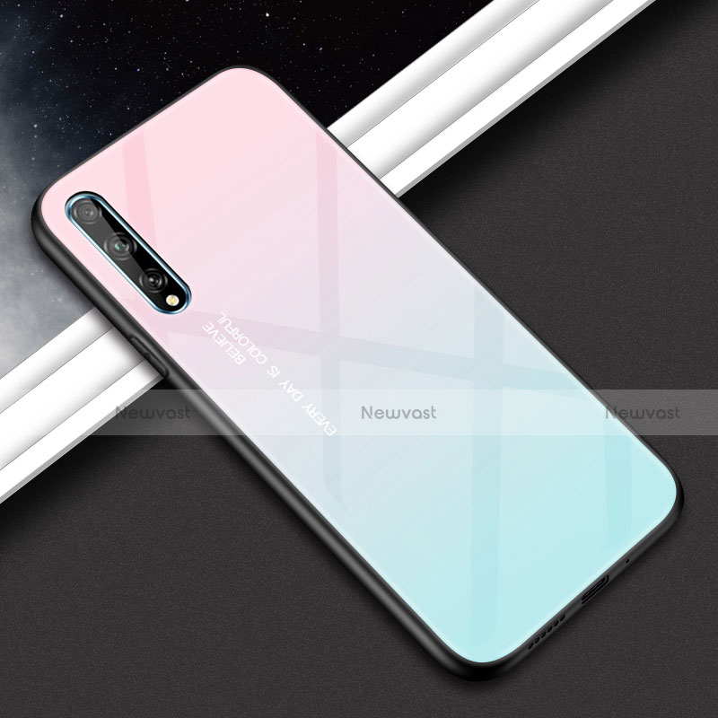 Silicone Frame Mirror Case Cover for Huawei Y8p Pink
