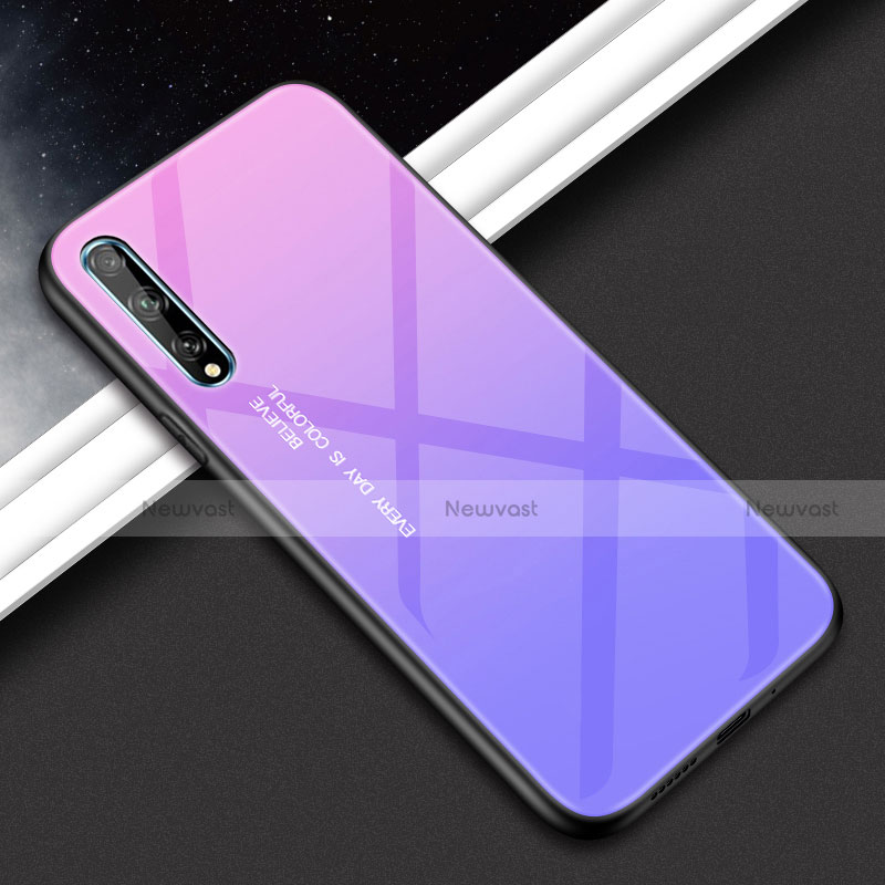 Silicone Frame Mirror Case Cover for Huawei Y8p Purple