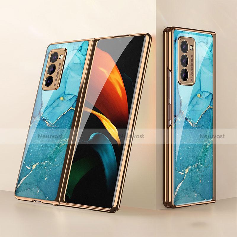 Silicone Frame Mirror Case Cover for Samsung Galaxy Z Fold2 5G Cyan