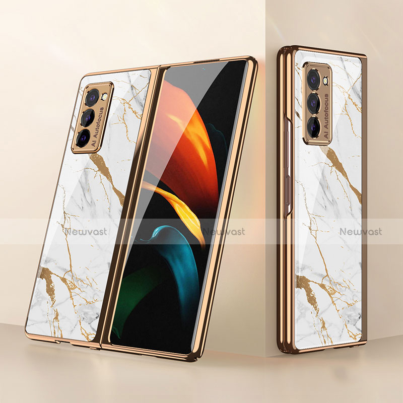 Silicone Frame Mirror Case Cover for Samsung Galaxy Z Fold2 5G White