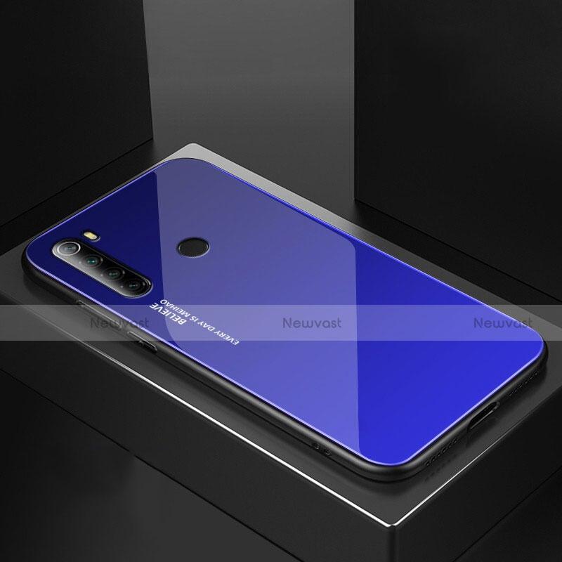 Silicone Frame Mirror Case Cover for Xiaomi Redmi Note 8 Blue