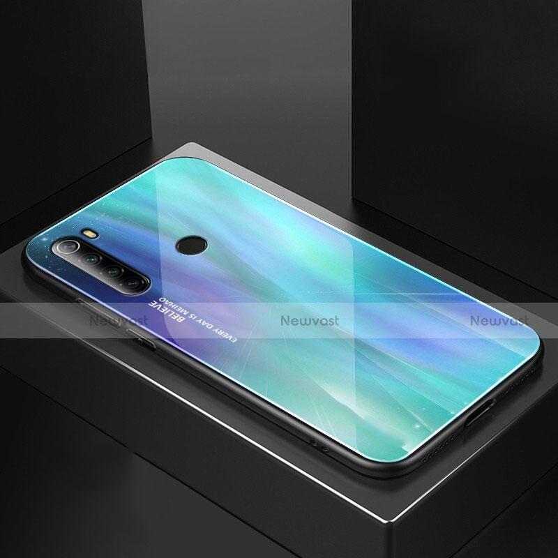 Silicone Frame Mirror Case Cover for Xiaomi Redmi Note 8 Cyan