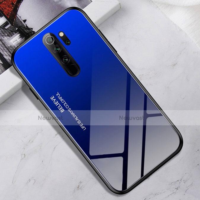Silicone Frame Mirror Case Cover for Xiaomi Redmi Note 8 Pro Blue