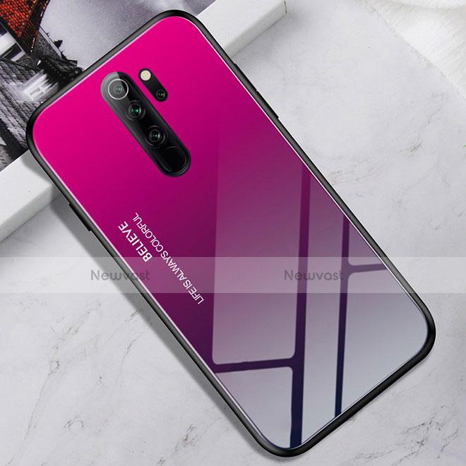 Silicone Frame Mirror Case Cover for Xiaomi Redmi Note 8 Pro Purple