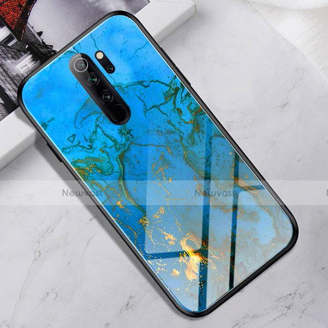 Silicone Frame Mirror Case Cover for Xiaomi Redmi Note 8 Pro Sky Blue