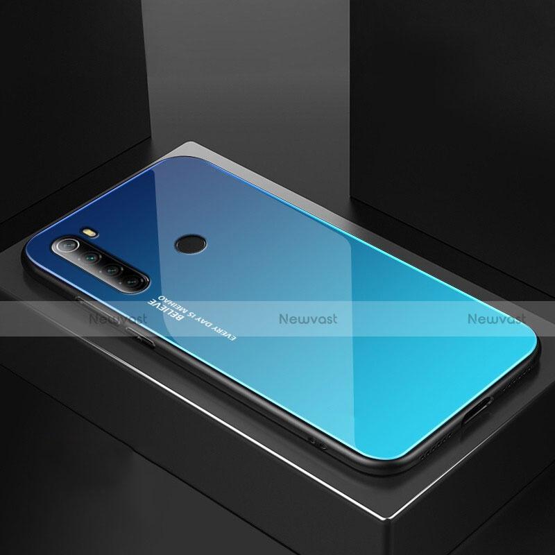 Silicone Frame Mirror Case Cover for Xiaomi Redmi Note 8 Sky Blue