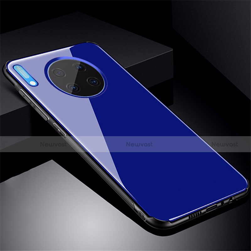 Silicone Frame Mirror Case Cover M01 for Huawei Mate 30 Pro 5G Blue