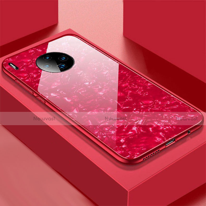 Silicone Frame Mirror Case Cover M02 for Huawei Mate 30 Pro 5G Red