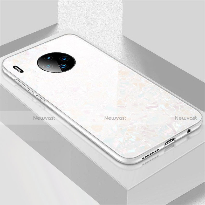 Silicone Frame Mirror Case Cover M02 for Huawei Mate 30 Pro 5G White