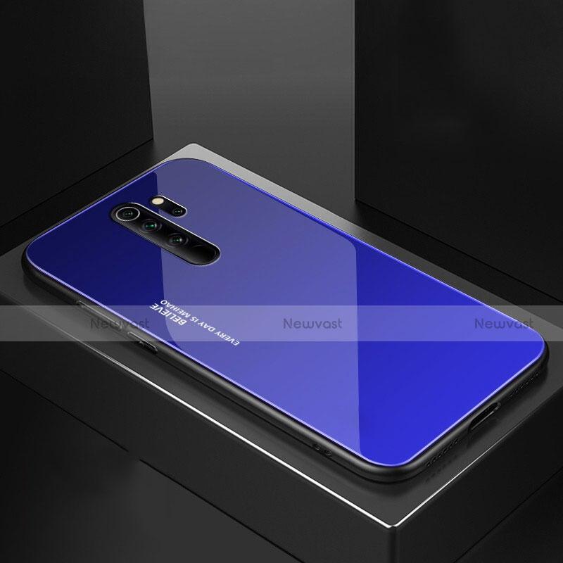 Silicone Frame Mirror Case Cover M02 for Xiaomi Redmi Note 8 Pro Blue