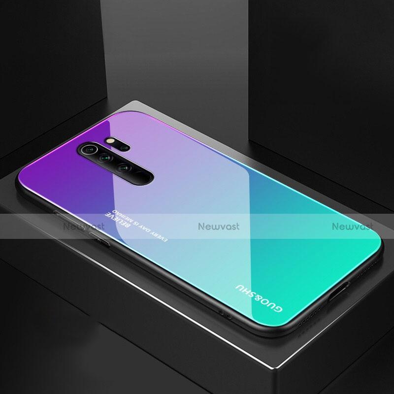 Silicone Frame Mirror Case Cover M02 for Xiaomi Redmi Note 8 Pro Cyan