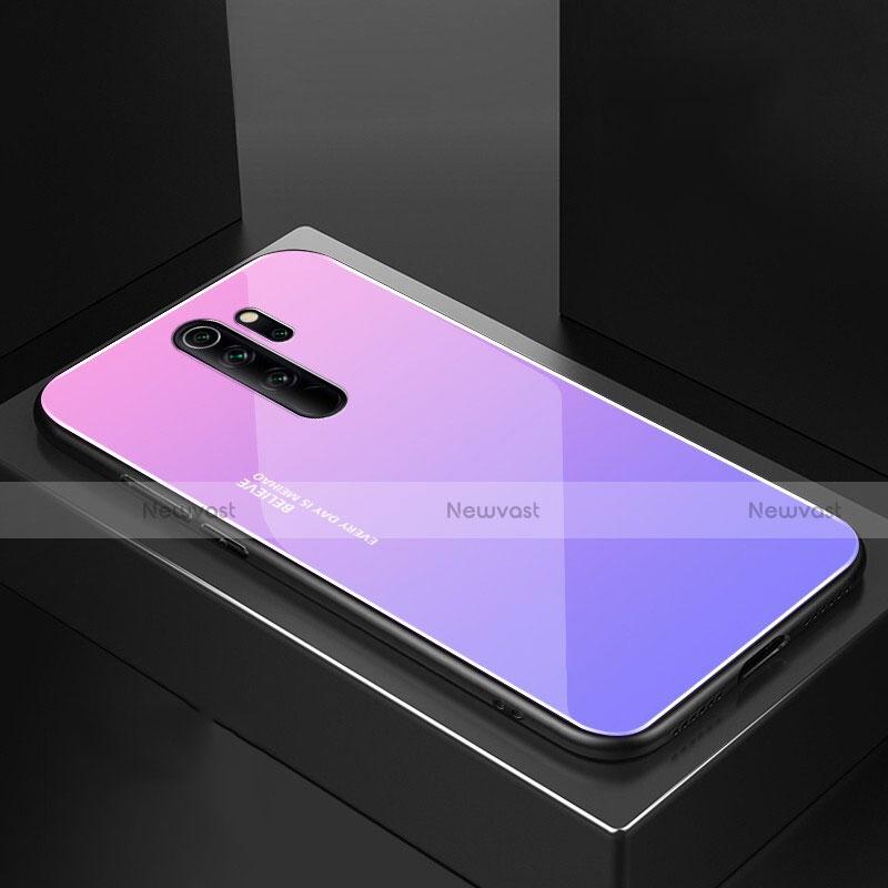 Silicone Frame Mirror Case Cover M02 for Xiaomi Redmi Note 8 Pro Purple