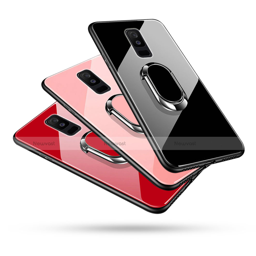 Silicone Frame Mirror Case Cover with Finger Ring Stand for Samsung Galaxy A6 Plus