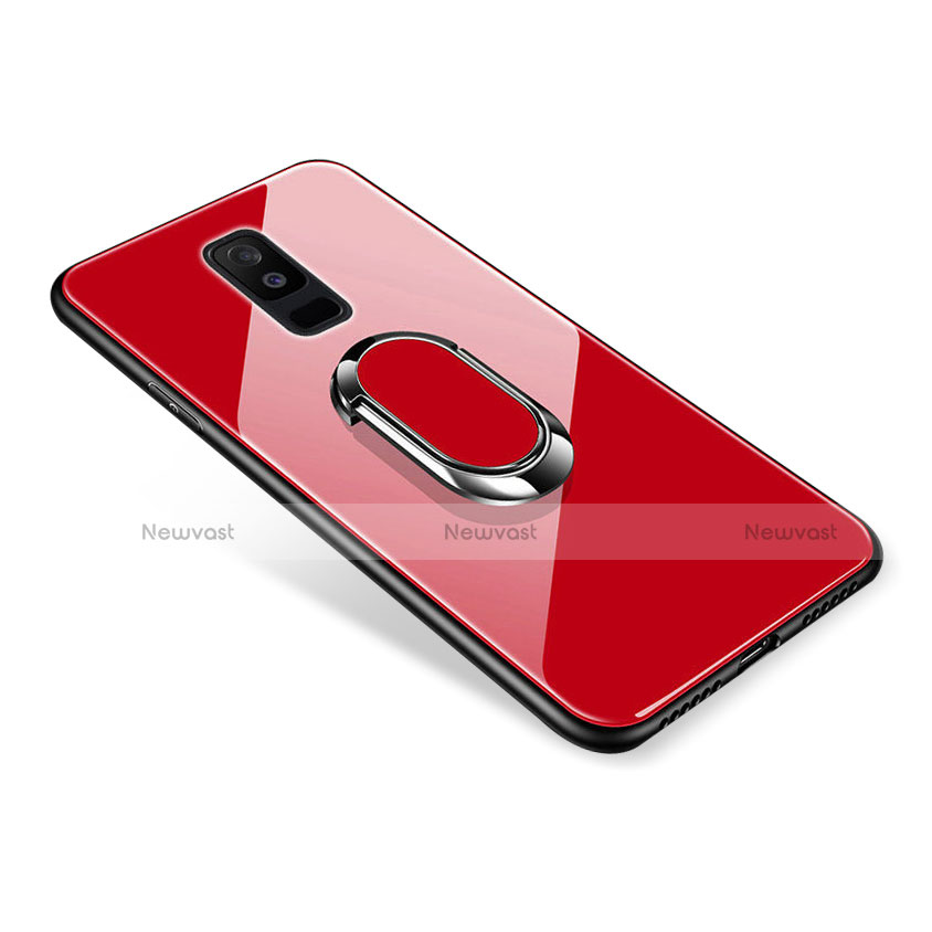 Silicone Frame Mirror Case Cover with Finger Ring Stand for Samsung Galaxy A6 Plus Red